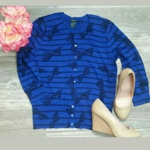 Ann Taylor Sweaters - ANN TAYLOR Sz M  Blue Black BOW cardigan button up